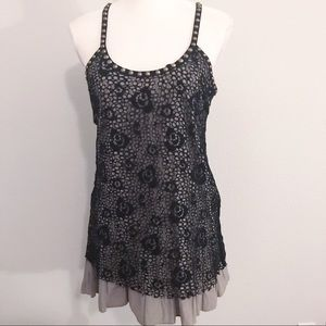 Free People crochet lace studded ruffle tank top